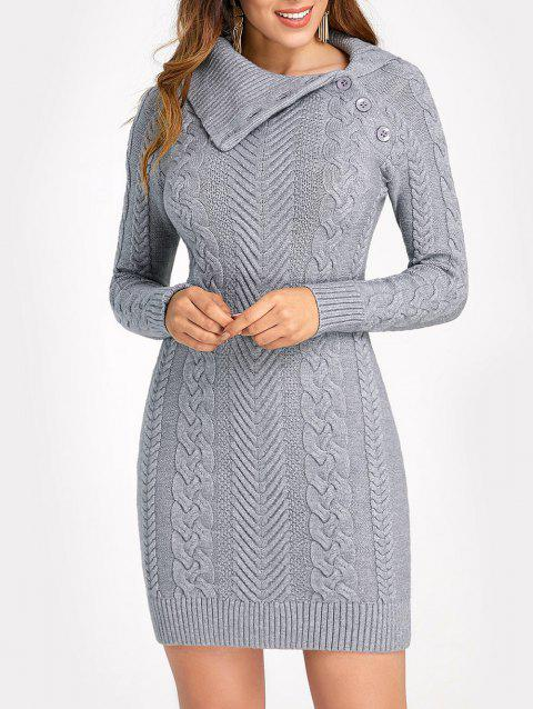 Cable Knit Flat Collar Bodycon Dress - GRAY S