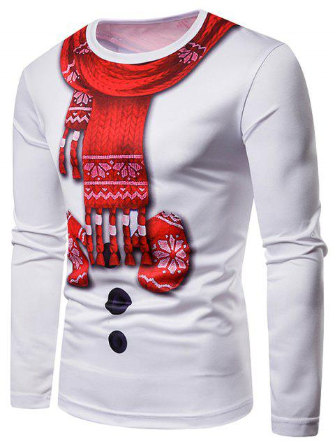 Scarf Gloves Christmas 3D Long Sleeves Tee - WHITE L