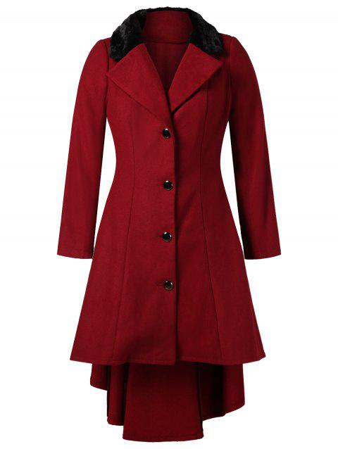 Plus Size High Low Longline Coat - RED 2X