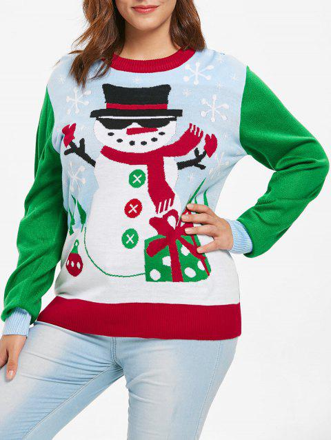 b08ca21e35 81% OFF] 2019 Plus Size Round Neck Christmas Snowman Print Sweater ...