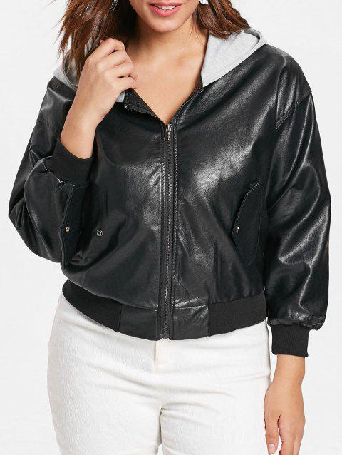 Plus Size Front Pockets Faux Leather Zip Jacket - BLACK 2X