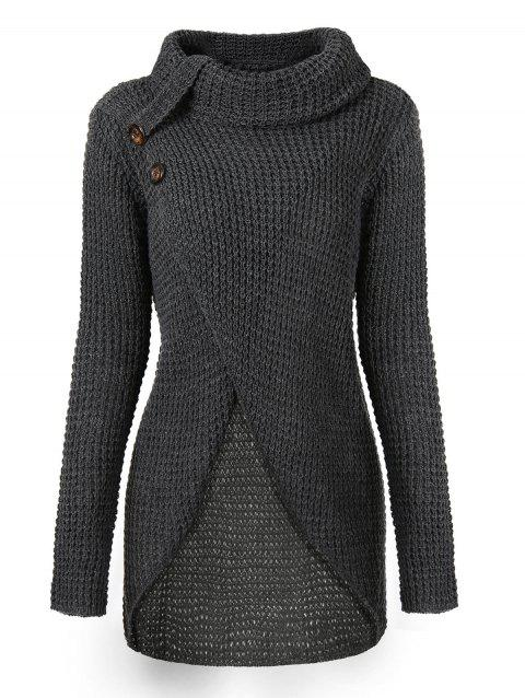 Cowl Neck Knit High Low Sweater - DARK GRAY L
