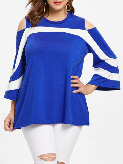 Round Neck Plus Size Two Tone T-shirt - BLUE 3X