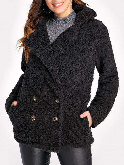 Double Breasted Fuzzy Coat - BLACK XL