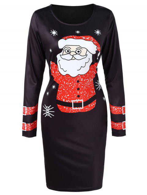 Santa Claus Christmas Dress with Long Sleeves - BLACK L