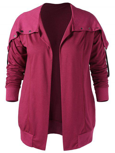 Plus Size Turn Down Collar Open Front Coat - MEDIUM VIOLET RED 2X