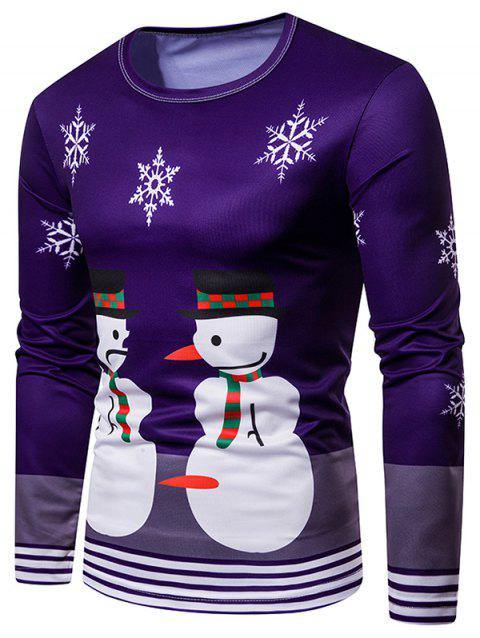 Snowman Christmas Stripe Trim Tee - PURPLE M