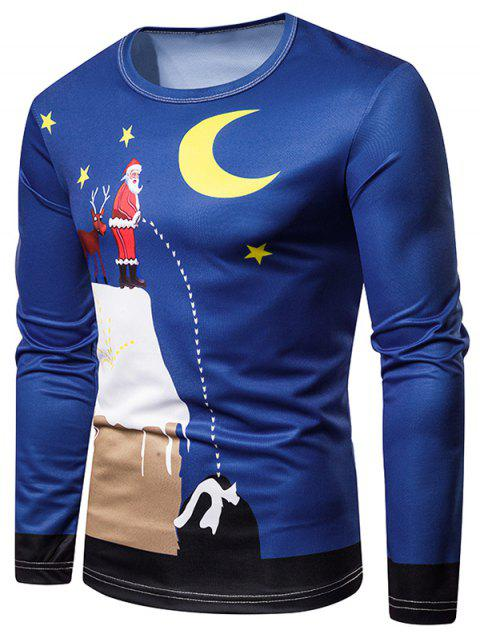 Crew Neck Christmas Santa Claus and Moon Printed Tee - multicolor XL