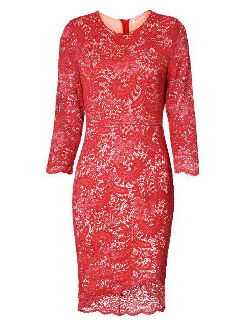 High Low Lace Dress - RED M