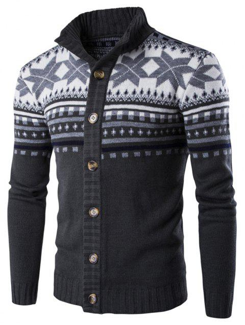 7693a950bc874 Christmas Geometric Snowflake Pattern Knitted Cardigan - DARK SLATE GREY L