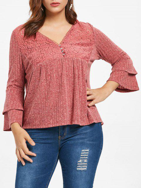 Plus Size Bell Sleeve Lace Insert Marled T-shirt - LIGHT CORAL L
