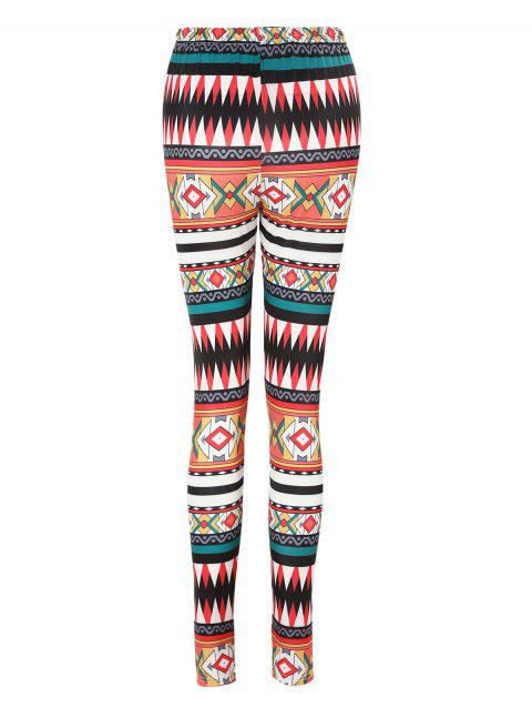 Graphic High Waisted Leggings - multicolor L