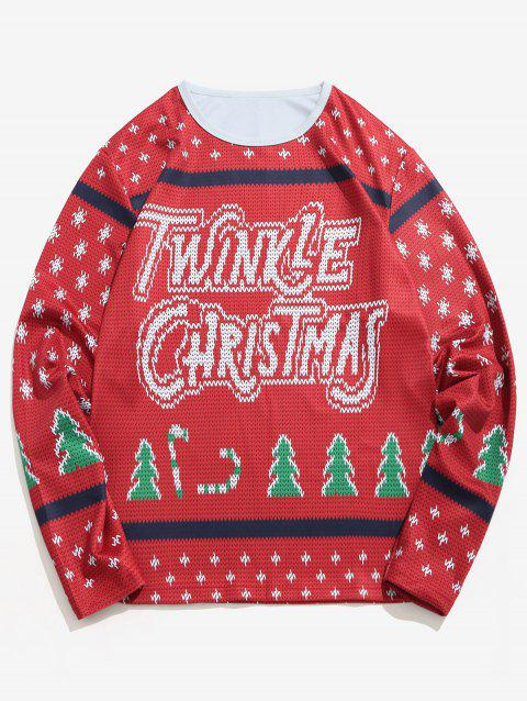 Letter Christmas Tree Knitted Sweater Print T-shirt - RED WINE 2XL