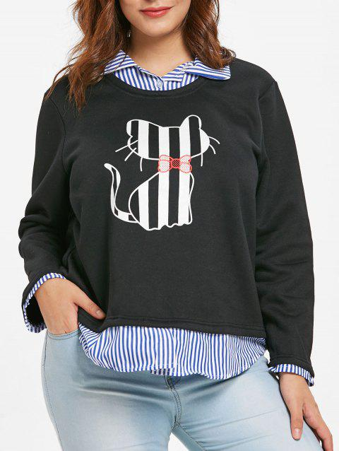 Plus Size Cat Pattern Twinset Sweatshirt - BLACK 1X