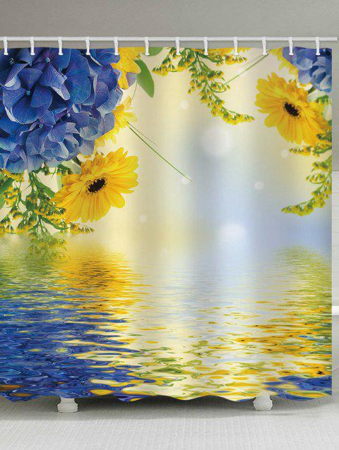 Lake and Flower Printed Waterproof Shower Curtain - multicolor W65 X L71 INCH