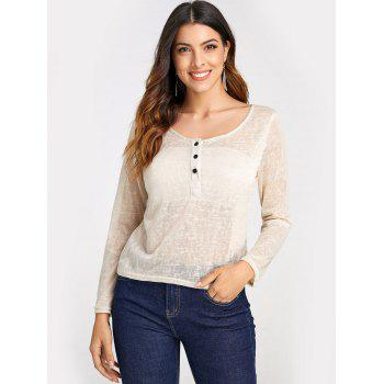 Pullover Long Sleeve Scoop Neck Solid Color Blouse For Women - BEIGE 2XL