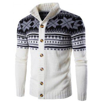 Christmas Geometric Snowflake Pattern Knitted Cardigan