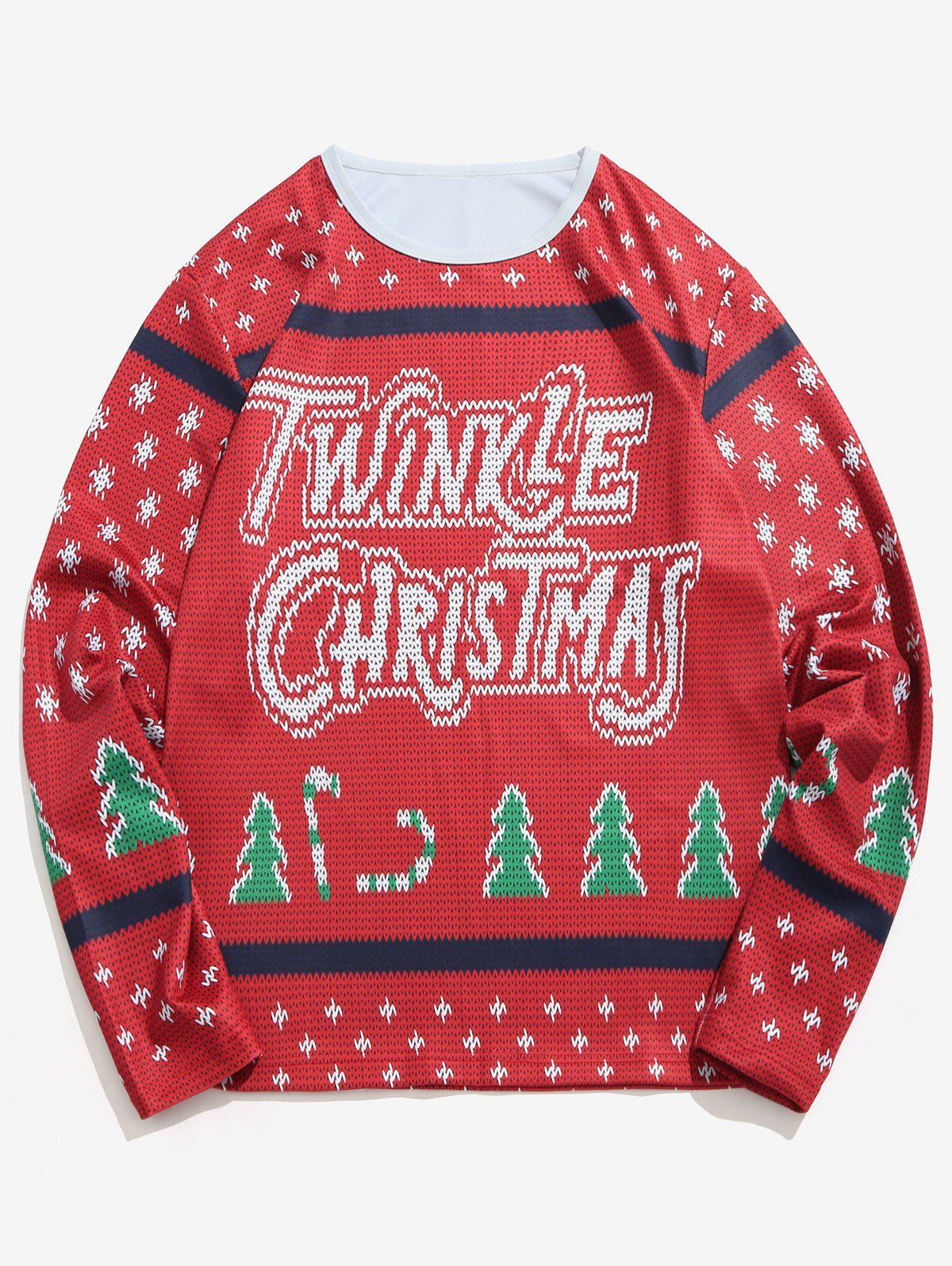 Letter Christmas Tree Knitted Sweater Print T-shirt - RED WINE XL