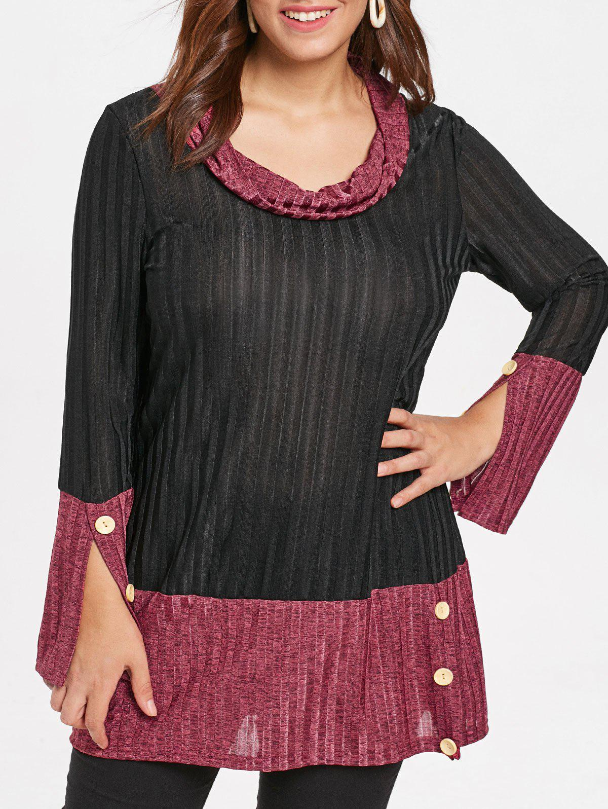 Plus Size Color Block Ribbed Top - BLACK 3X