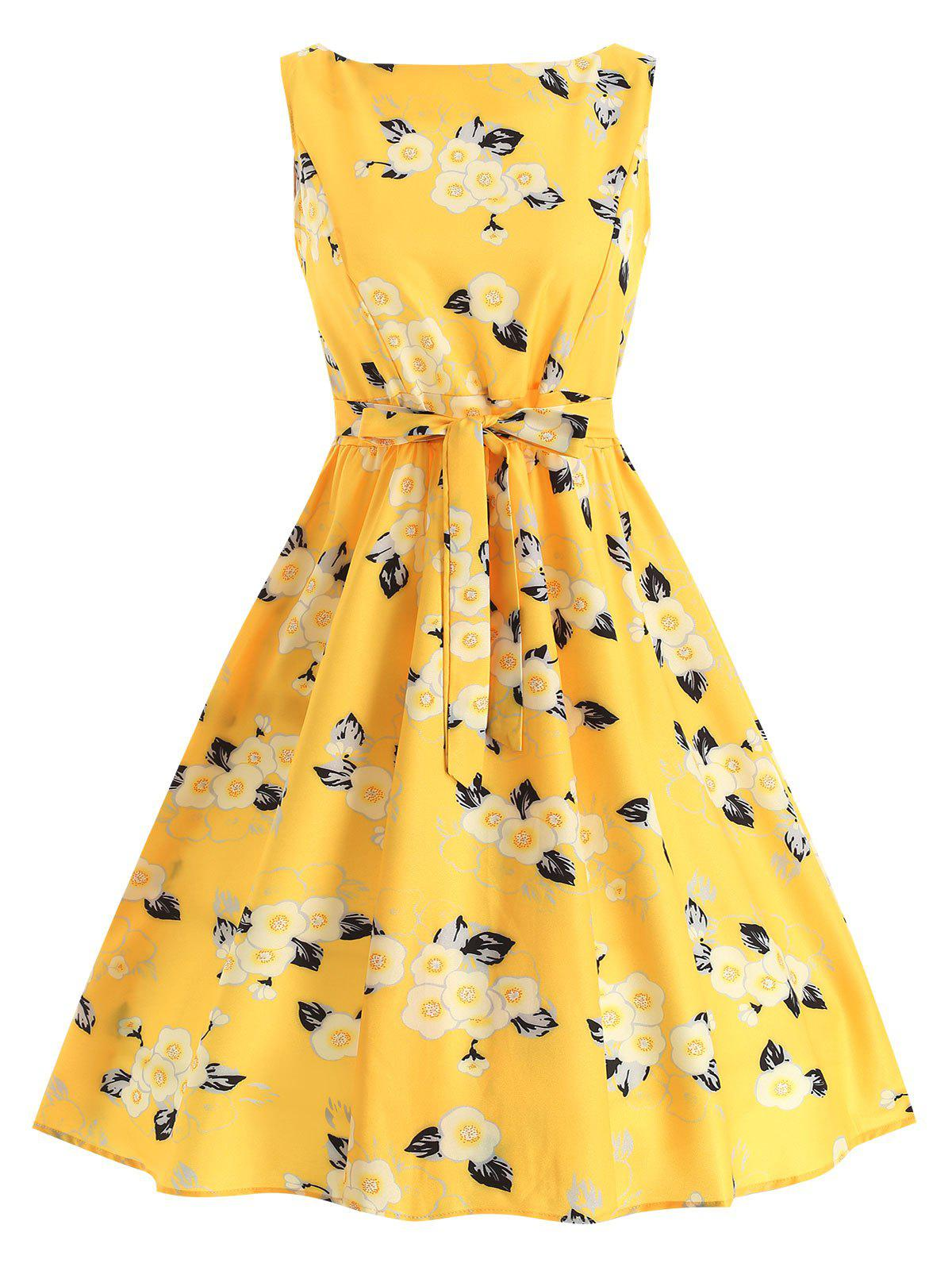 Floral Knee Length Belted Dress - SUN YELLOW L