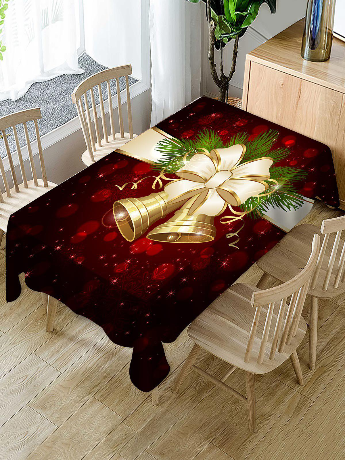 Christmas Bell Bowknot Print Waterproof Tablecloth - multicolor W54 X L54 INCH