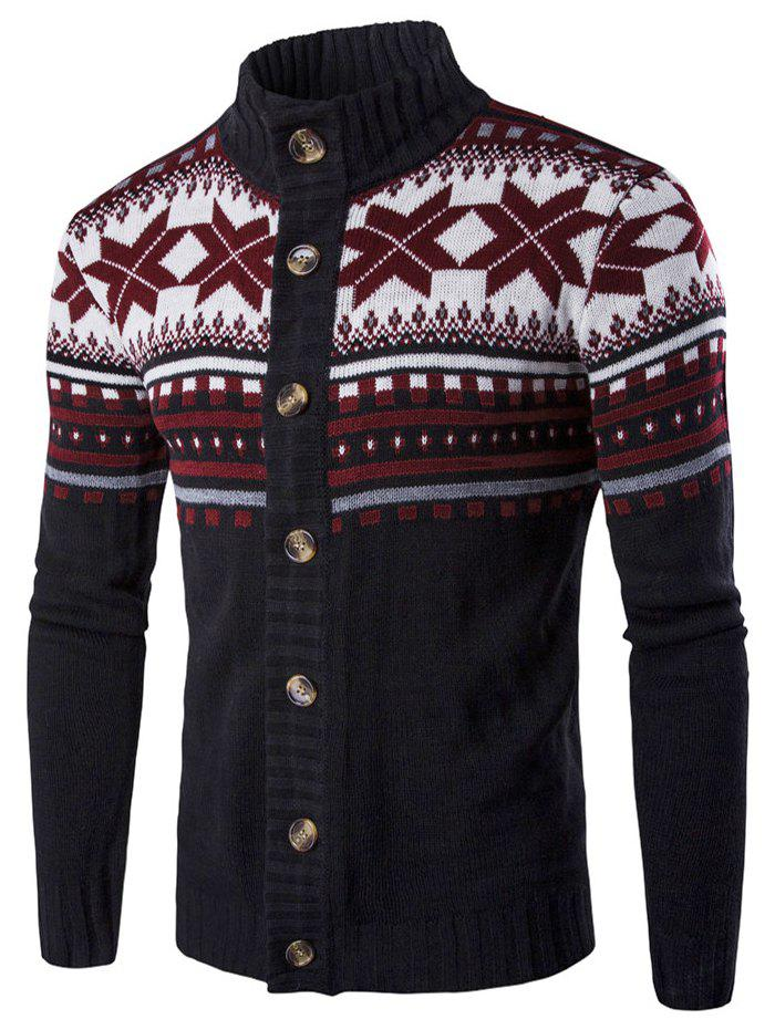 Christmas Geometric Snowflake Pattern Knitted Cardigan - BLACK L