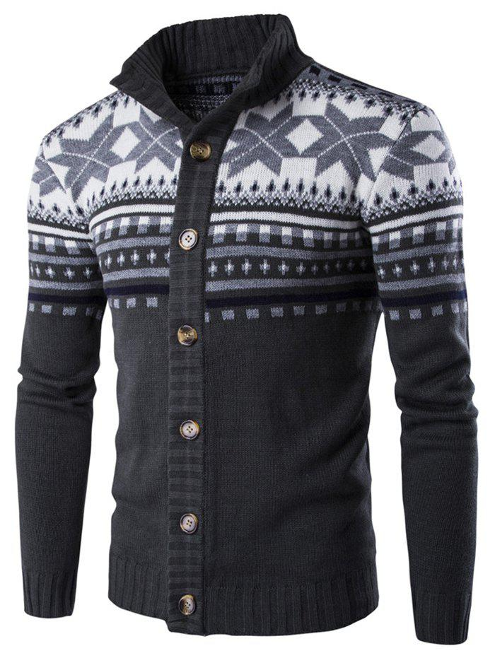 Christmas Geometric Snowflake Pattern Knitted Cardigan - DARK SLATE GREY L