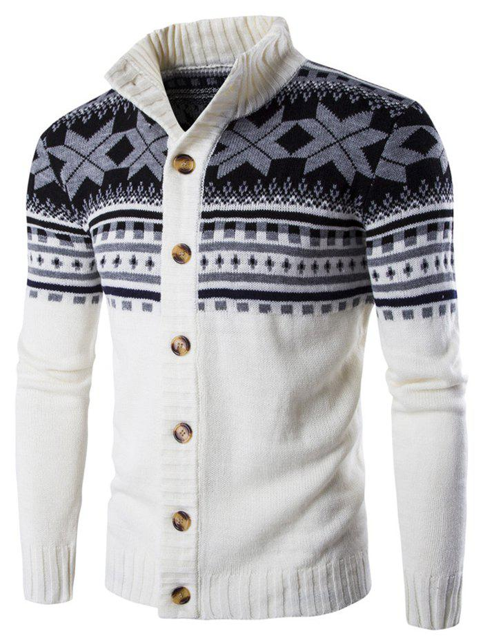 Christmas Geometric Snowflake Pattern Knitted Cardigan - WHITE XL