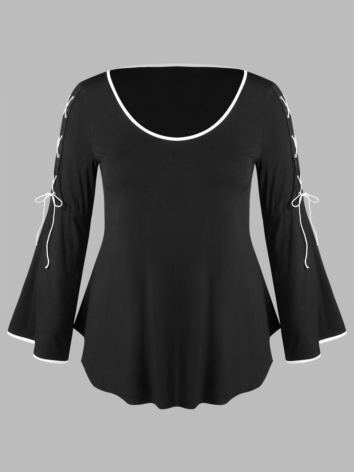 Plus Size Bell Sleeve Lace Up Curved T-shirt