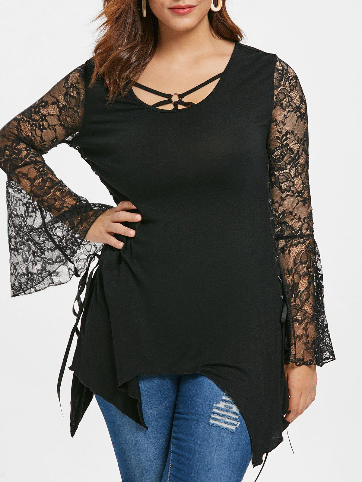 Plus Size Halloween Bell Sleeve Lace Up T-shirt - BLACK L