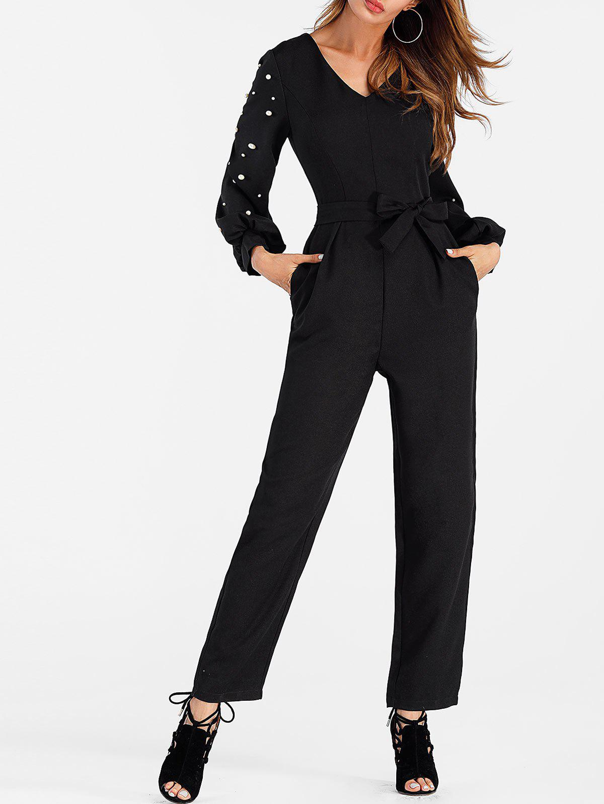 Belted Beaded Jumpsuit - BLACK M