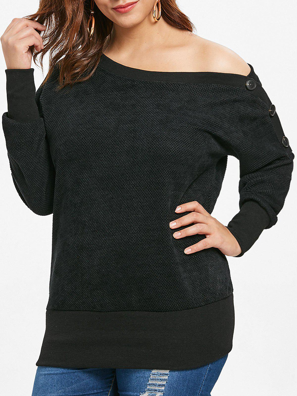 Plus Size Drop Shoulder Skew Neck Sweatshirt - BLACK 4X