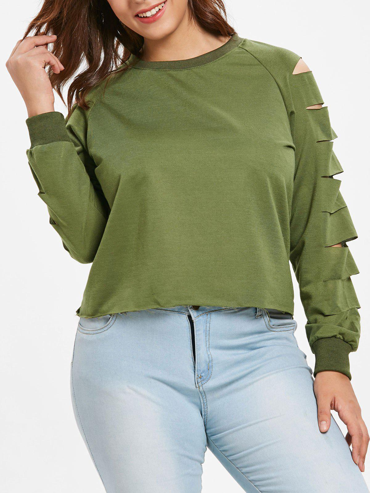 Plus Size Raglan Sleeve Ladder Cut Out Sweatshirt - SEAWEED GREEN 2X