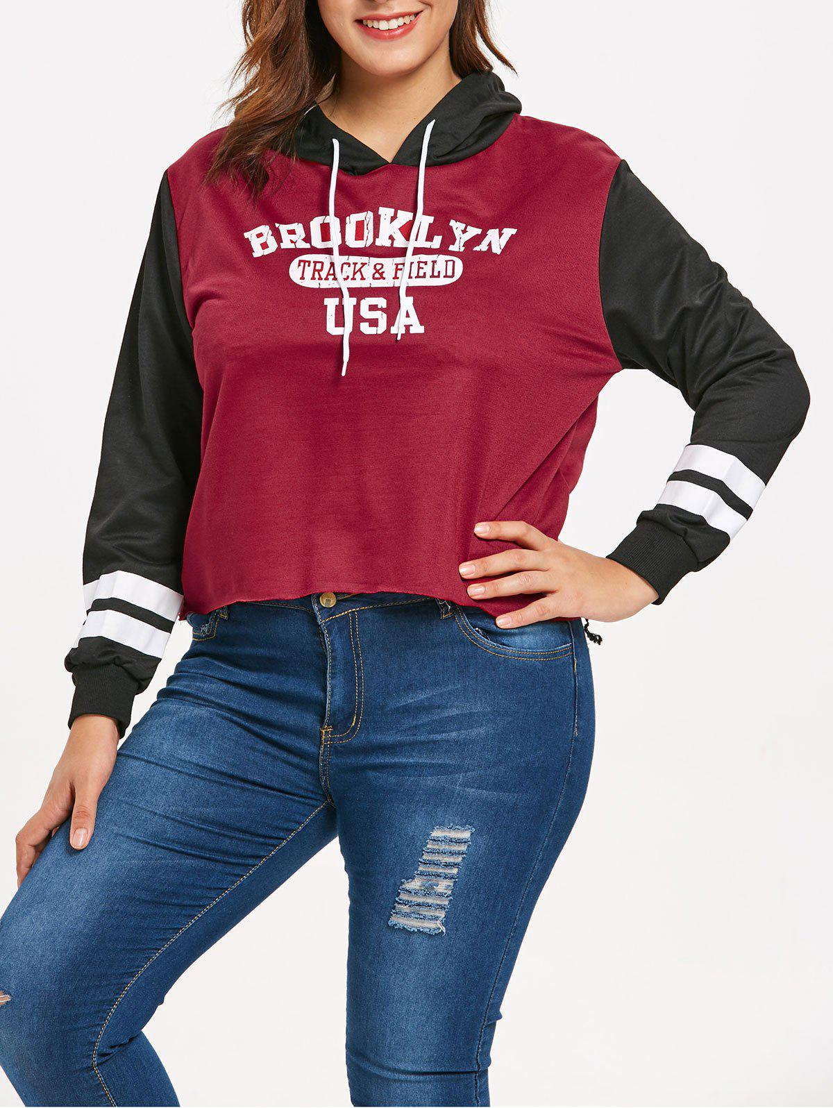 Plus Size Pullover Letters High Low Hoodie - RED WINE 4X