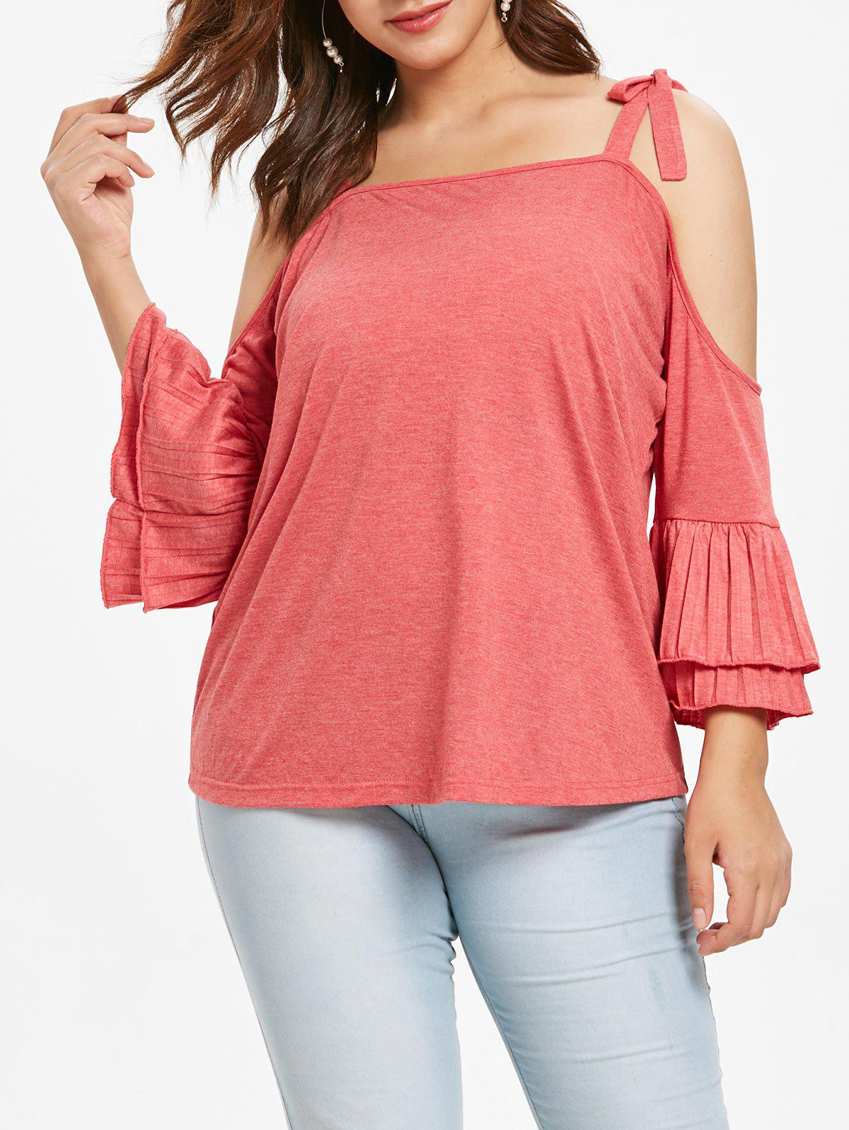 Plus Size Cold Shoulder Flounce Ties Tee - BEAN RED L
