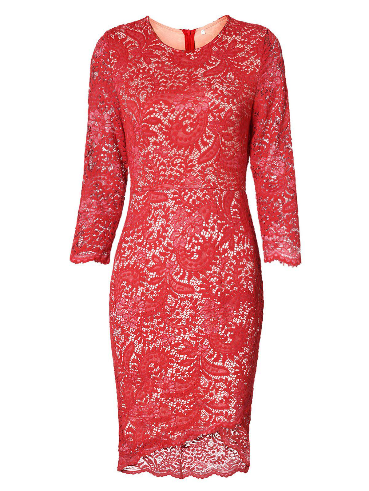 High Low Lace Dress - RED S