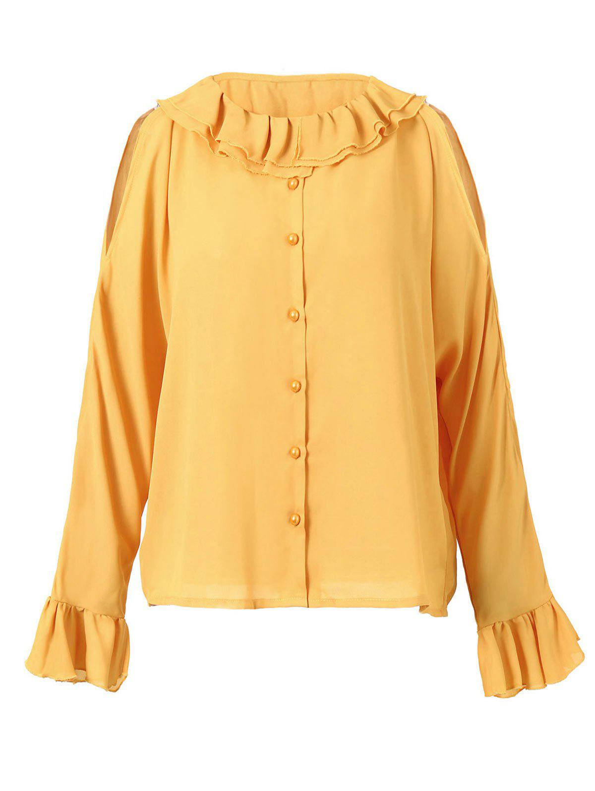 Cold Shoulder Button Up Flounced Blouse - BRIGHT YELLOW L