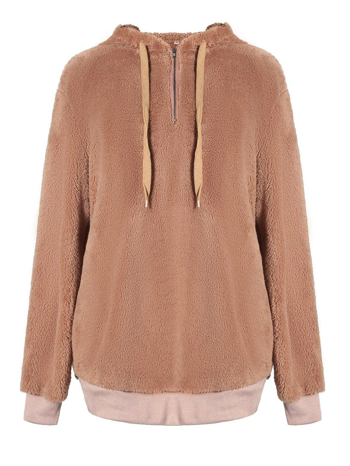 Drawstring Fuzzy Hoodie - LIGHT BROWN M