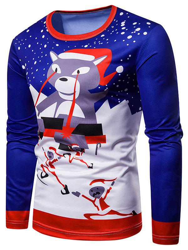 Santa Claus Christmas 3D Print Long Sleeves Tee - multicolor L