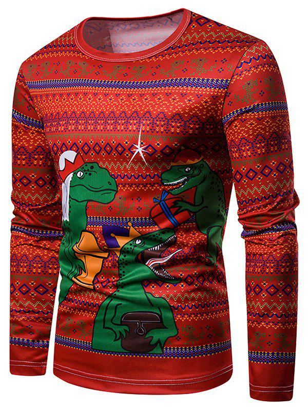 Crew Neck Christmas Geometric Dinosaur Printed T-shirt - multicolor XL