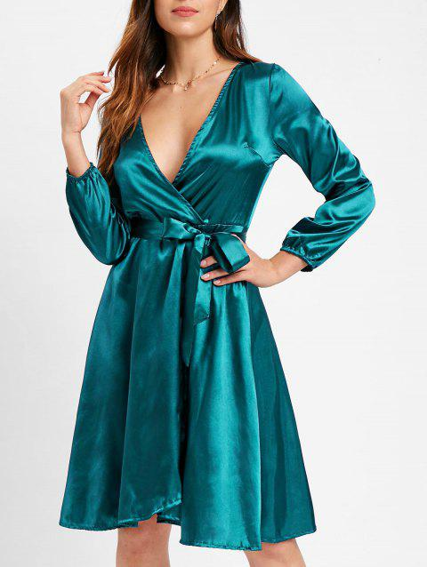 Satin Belted Surplice Dress - PEACOCK BLUE M