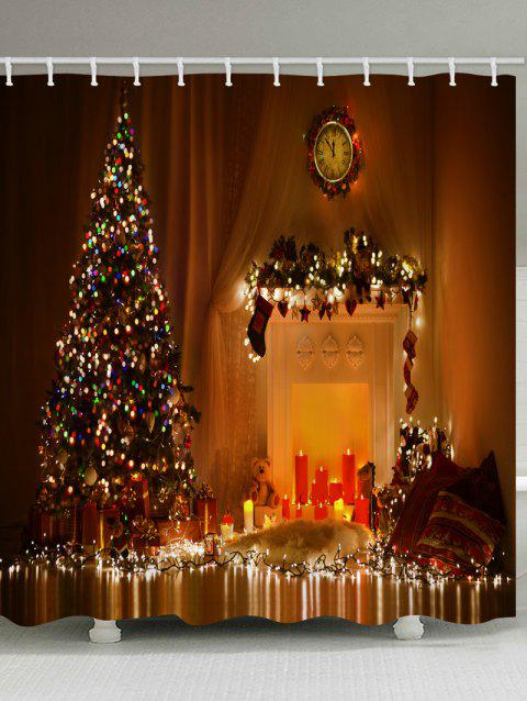 Christmas Tree Candle Waterproof Bath Curtain - multicolor W71 X L79 INCH