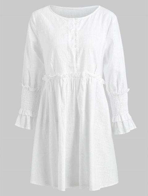 Flare Sleeve High Waist Short Dress - WHITE XL