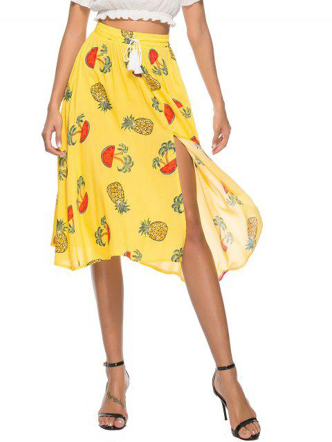 Bohemian Pineapple Print High Slit Skirt - CORN YELLOW XL