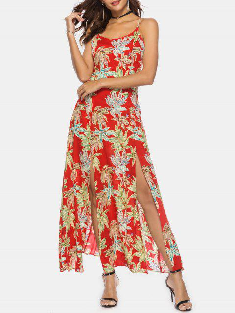 Palm Print High Slit Maxi Slip Dress - RED M