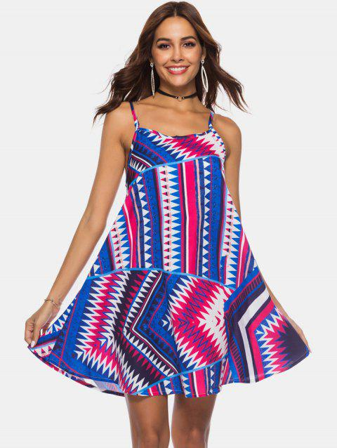 Zig Zag Criss Cross Mini Slip Dress - multicolor M