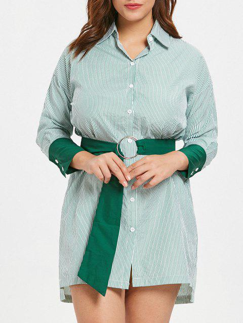 Robe chemise à rayures à grande taille - Vert 1X