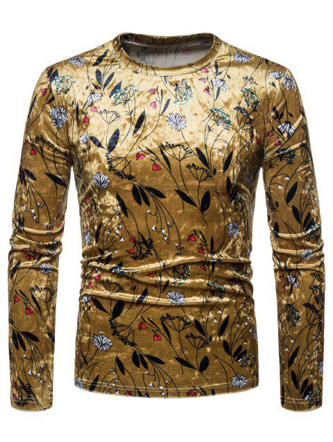 Slim Fit Flower Velvet T-shirt - GOLD M