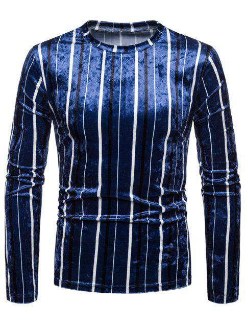Striped Velvet Slim Fit T-shirt - COBALT BLUE M