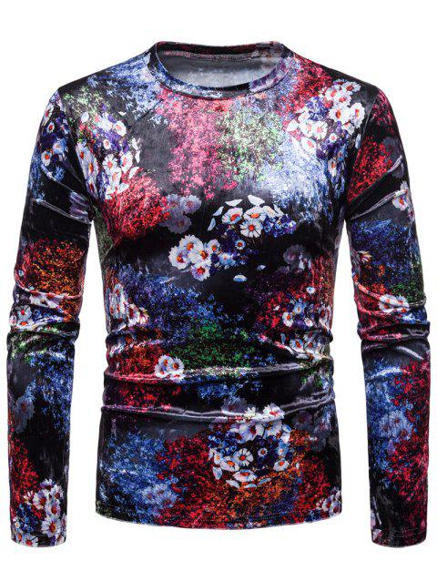 Flower Velvet Slim Fit T-shirt - multicolor A L